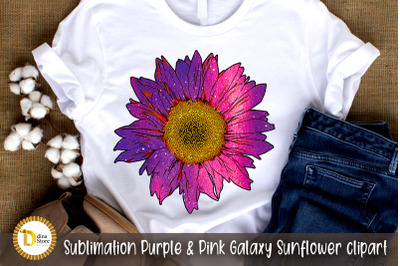 Sublimation Purple & Pink Galaxy Sunflower clipart