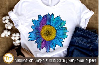 Sublimation Purple & Blue Galaxy Sunflower clipart