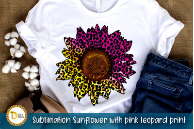 Sublimation Sunflower with pink leopard print