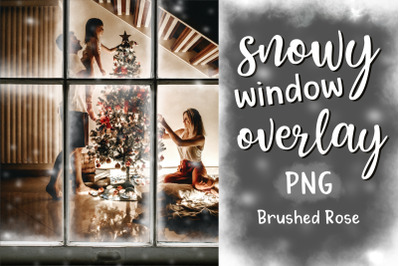 Snowy window overlay   PNG Christmas window