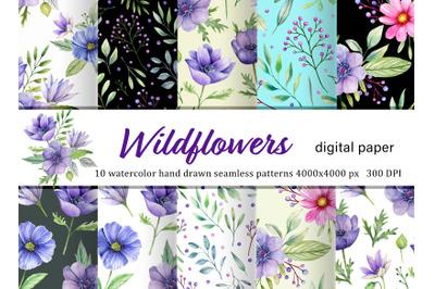 Watercolor wildflowers digital paper pack. Hand drawn violet flowers