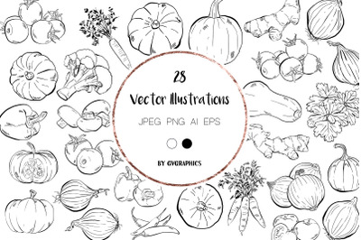 28 Hand drawn Vegetables Illustrations in black and white