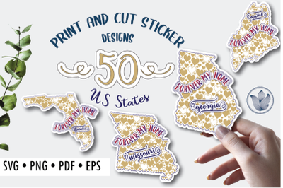 Print and cut svg sticker designs, Forever my home, hearts