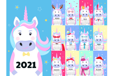 Calendar for 2021 with funny unicorns