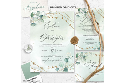 ANYS - Boho Greenery Eucalyptus and Faux Gold Geometric Wedding Invite
