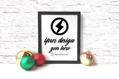 Picture Frame with Christmas Ornaments | PNG Mock Up