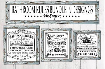 Bathroom Rules Quotes Bundle Svg File