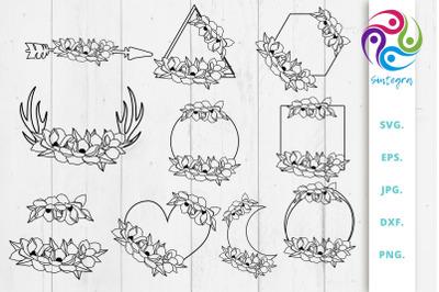 Floral Monogram Frame Bundle Svg, Magnolia Svg