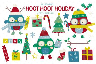 HOOT HOOT Holiday clipart set