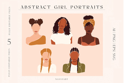 Abstract Women Face Portraits