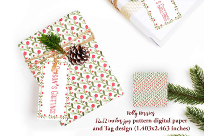 Holly Berry pattern  with matching tag