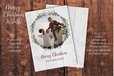 Berry Wreath Christmas Card template/ Photoshop template