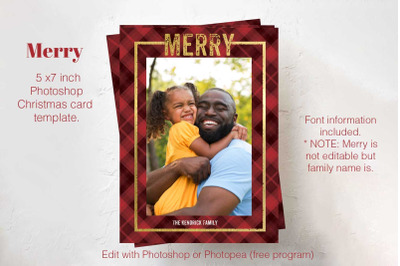 Christmas Card template | Photoshop Card template | Holiday Plaid