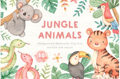 Jungle Animals Watercolor Clip Arts