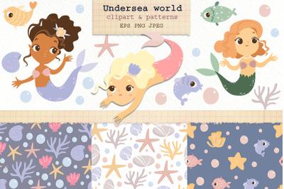 Mermaids clipart. Underwater world