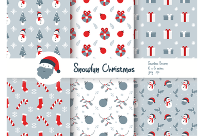 Snow Fun Christmas Seamless Patterns