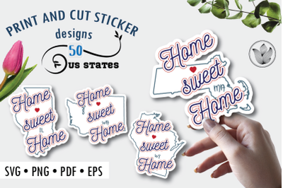 Print and cut svg sticker designs, Home sweet home