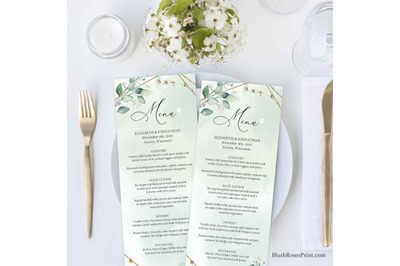 ANYS - Amazing Editable Wedding Menu in Boho Style Greenery Eucalyptus