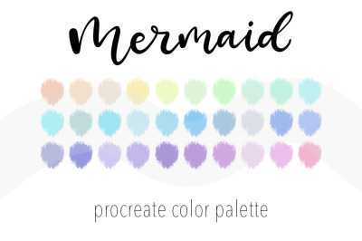 Mermaid color palette for Procreate. 30Color Swatchesfor iPad art.