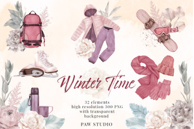 Winter Clothes Outdoor Hobby Sport Skates Snowboard Flowers Clipart