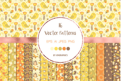16 Bright Flowers and Birds Vector Patterns and Seamless Tiles
