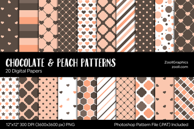 Chocolate And Peach Digital Papers