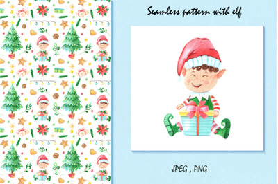 Christmas pattern with elf