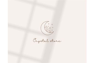 mystical logo with crystals-boutique logo design-moon logo with stars