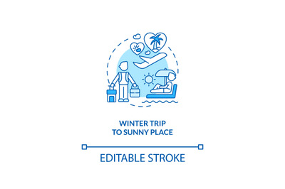 Winter trip to sunny place concept icon