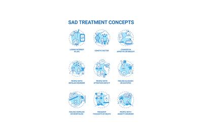 SAD treatment concept icons set