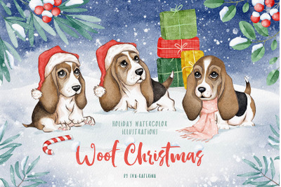 Woof Christmas Watercolors