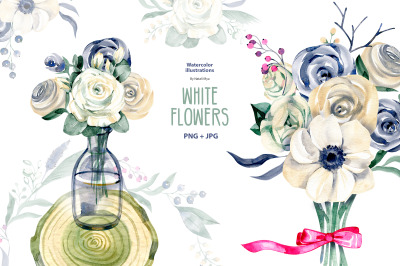 Watercolor white flowers