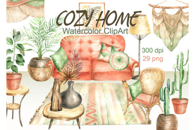 Watercolr boho home clipart cozy home decor clip art modern Interior b