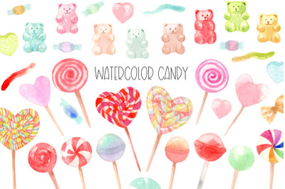 Watercolor candy. Valentine's Day. Patterns and Cliparts