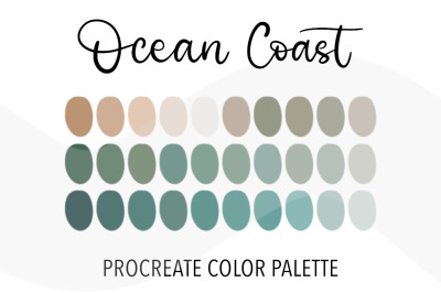 Ocean coast color palettefor Procreate. 30Swatches in marinecolors