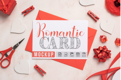 Romantic Card with Envelope Mockup