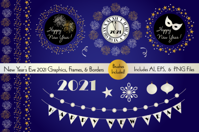 New Year's Eve 2021 Graphics, Frames, & Borders