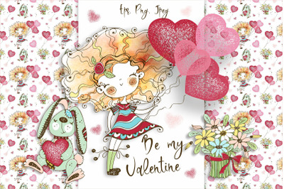 Funny Valentine watercolor cards, digital clipart Valentines, birthday