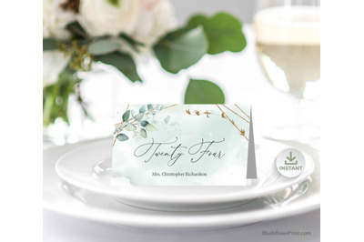 ANYS - Wedding Place Cards Editable Templates Eucalyptus Greenery Boho