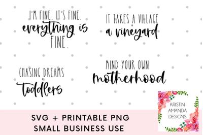 Motherhood Mom Mothers Day SVG Bundle Cricut