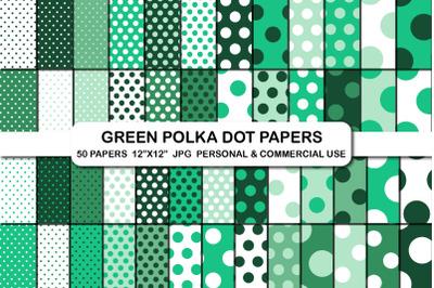 Green polka dot digital papers, Polka dot background pattern