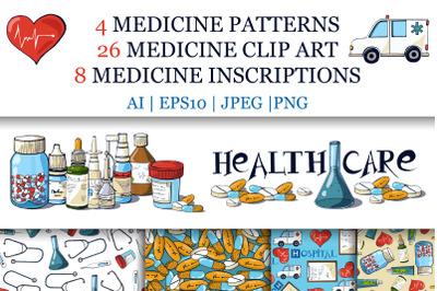 Medical Clip Art, Inscriptions And Patterns