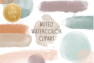 Abstract Watercolor Clipart In Muted Color Tones
