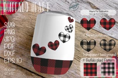 Heart SVG, Valentine sublimation, Valentines SVG, Stencil, Buffalo Pla