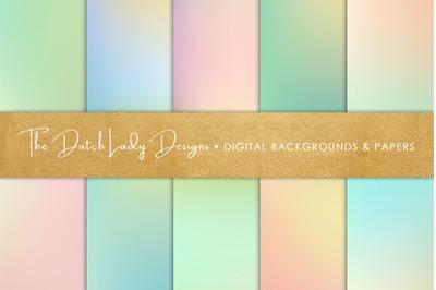 Spring Pastel Gradient Backgrounds & Scrapbook Papers