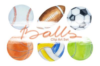 Watercolor Balls Clip Art Set