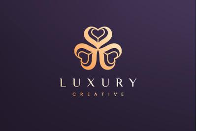 Clover leaf logo concept luxury style