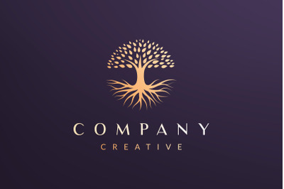 Circle tree logo concept luxury style
