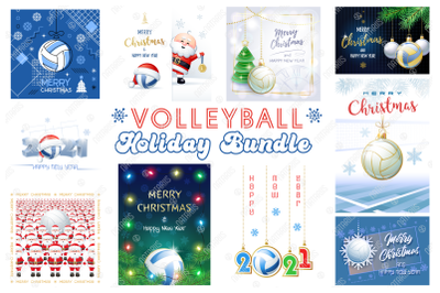 Volleyball. Big Bundle of Christmas Sports Greeting Cards.