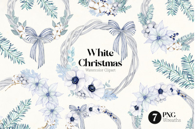 Christmas wreaths clipart, New Year winter graphics
